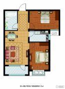 东胜紫御府2室2厅1卫83平方米户型图