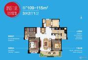 碧桂园晚亭印象3室2厅1卫109--115平方米户型图