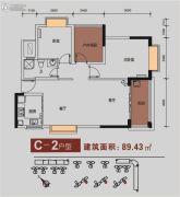 金碧丽江东海岸2室2厅1卫89平方米户型图