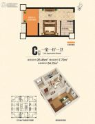 檀溪谷1室1厅1卫26--34平方米户型图