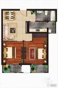 丁豪广场2室2厅2卫80平方米户型图