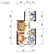 中央学府1室2厅1卫50平方米户型图