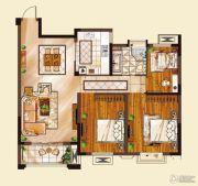 山水华庭3室2厅1卫96平方米户型图