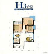 翰林尚品3室2厅1卫94平方米户型图