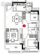 保利天汇2室2厅1卫0平方米户型图
