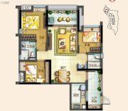 北部万科城3室2厅2卫93平方米户型图