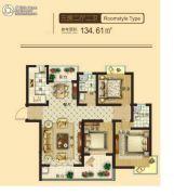 东鑫中央公园3室2厅2卫134平方米户型图