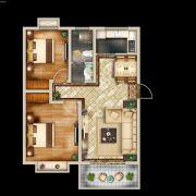 中亚・翰林华府2室2厅1卫83平方米户型图