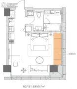 杭州万通中心1室1厅1卫0平方米户型图