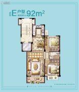 普禧观澜2室2厅1卫92平方米户型图