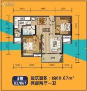 华浩国际城2室2厅1卫80平方米户型图