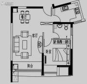 北方月光兰庭1室2厅1卫61平方米户型图
