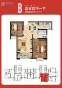 天场・瑞府2室2厅1卫91--92平方米户型图