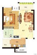 中海誉城1室2厅1卫50平方米户型图