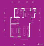 月伴林湾2室2厅1卫97平方米户型图