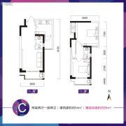 乔布斯公馆2期2室2厅2卫54平方米户型图