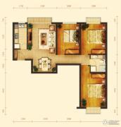 玺源台3室2厅1卫104平方米户型图