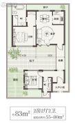 绿城桃李春风2室2厅2卫83平方米户型图
