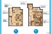 南京金奥缤润汇2室2厅1卫68平方米户型图