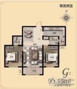金麦加汇君城2室2厅2卫99平方米户型图
