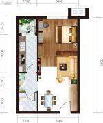 宏府・麒麟山1室1厅1卫59平方米户型图