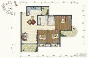 锦发君城3室2厅2卫105平方米户型图