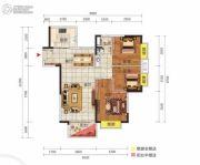 中惠松湖城3室2厅1卫90平方米户型图