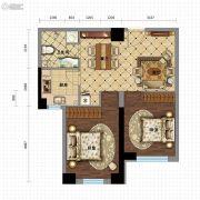 金沙星城2室2厅1卫75平方米户型图