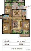 华盟天河湾3室2厅2卫138平方米户型图