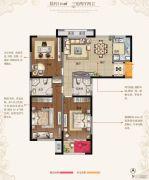 东方现代城3室2厅2卫116平方米户型图