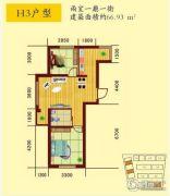 南台花园2室1厅1卫66平方米户型图
