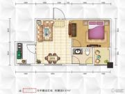 九立方国际购物中心1室1厅1卫38平方米户型图