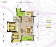 九曲御景2室2厅1卫75平方米户型图