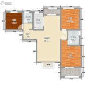 宏运海河湾3室2厅2卫82平方米户型图