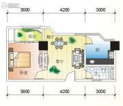 北海大厦1室2厅1卫72平方米户型图