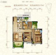 东江首府2室2厅2卫124平方米户型图
