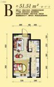 伯爵源筑1室1厅1卫51平方米户型图