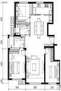 金地悦风华3室2厅2卫134平方米户型图