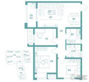 绿都紫荆华庭3室2厅1卫89平方米户型图