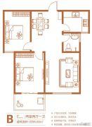 中州花都2室2厅1卫95平方米户型图