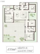 绿城桃李春风4室2厅3卫155平方米户型图