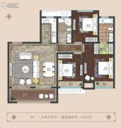 晖达新世界3室2厅2卫118平方米户型图