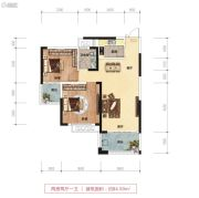 鑫远御文台二期2室2厅1卫84平方米户型图