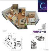 上力理想城2室2厅1卫90平方米户型图