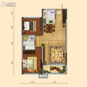 远洋大河宸章2室2厅1卫90平方米户型图