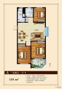 聚龙花园3室2厅1卫118平方米户型图