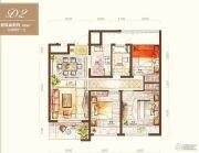 绿地海外滩3室2厅1卫88平方米户型图