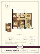 美都良景学府3室2厅1卫87平方米户型图