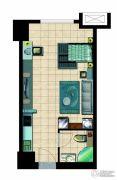 国瑞瑞城1室1厅1卫43平方米户型图