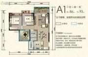 万旭涵碧公馆3室2厅1卫86平方米户型图